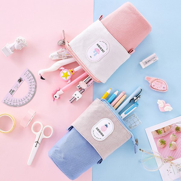 School Large Cases Supplies Kawaii Pouches Pencil Case For Girls Box Cute Pouch Bag Kids Storage Vintage Big Zipper Pencilcase