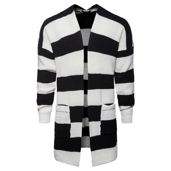 good quality Sweater Men Autumn New Medium Long Black And White Striped Knitted Long Mens Cardigans 2019 Men Jumper Sweater