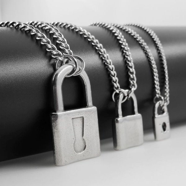 New Design Men's Lock Necklace Stainless Steel Padlock Pendant Necklace Fashion Women's Jewelry Factory Price