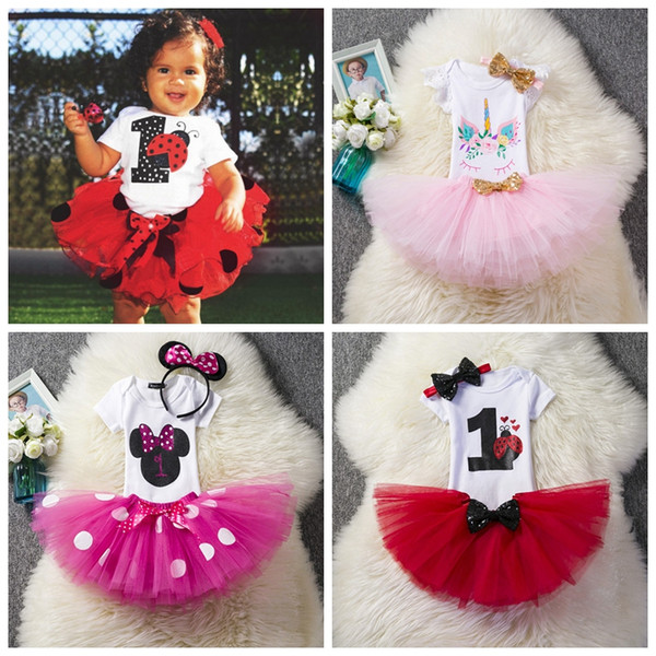 Babies birthday outfits rompers+tutus skirts+sequin headband 3pcs set infant party holidays dress up 1st 2nd year toddler gifts