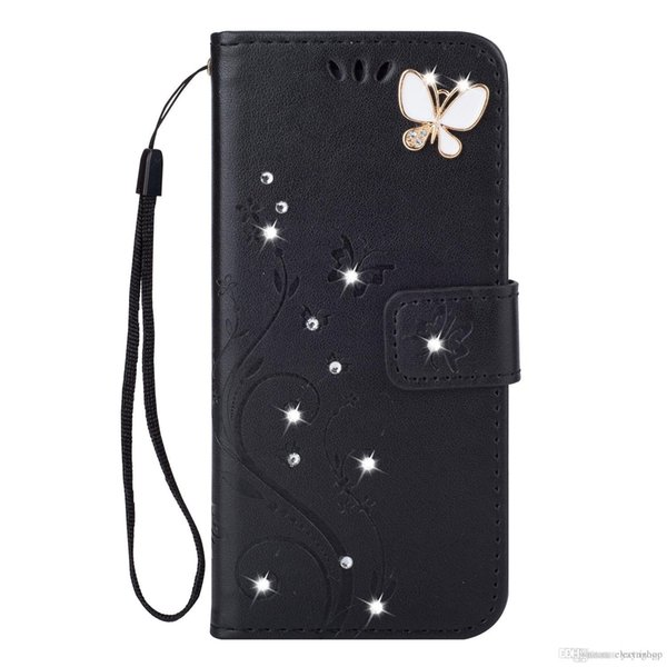 Shinning butterfly phone case 2 In 1 Little Bird Wallet Case PU Leather Phone Shell With Stand Strap Card Slot Pocket For iphone 6 7 8 9 x