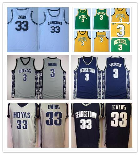 new style 3f180 6380f 2019 NCAA Mens Georgetown Hoyas Iverson College Jersey Cheap 3 Iverson 33  Patrick Ewing University Basketball Stitched Bethel High School Jersey From  ...
