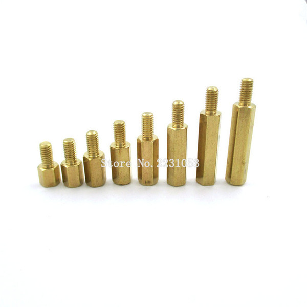 best selling Home Improvement 20PCS LOT 3 Male Hexagonal Brass PCB Standoffs Spacers Screw M3*5 6 8 10 12 15  18 20 6mm M3 Hex Screws