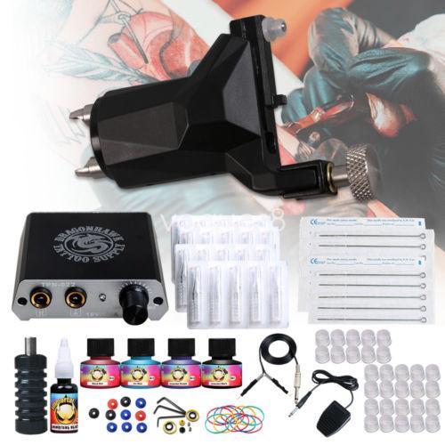 Professional Rotary Tattoo kit Rotary Machine Gun Mini Power Supply Disposable Needles Tips Grip IMMORTAL Inks Tattoo Set