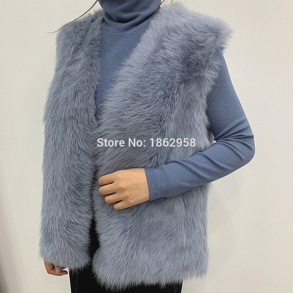 Women/'s Real Genuine Red Fox Fur Gilet Winter Striped Vest Waistcoat Lady Gift