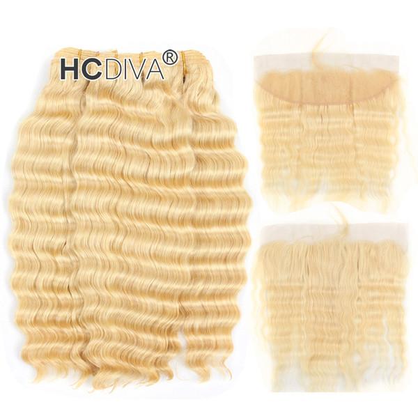 Top Quality 613 Blonde 3 Bundle capelli con pizzo frontale 13 * 4 pollici malese Vergine arricciatura profonda miele capelli biondi estensioni