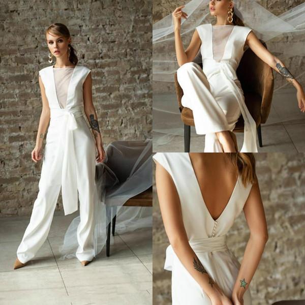 2020 комбинезоны пляжные свадебные платья открытый шею страна принцесса сад плюс размер Boho свадебное платье свадебное платье с поясом