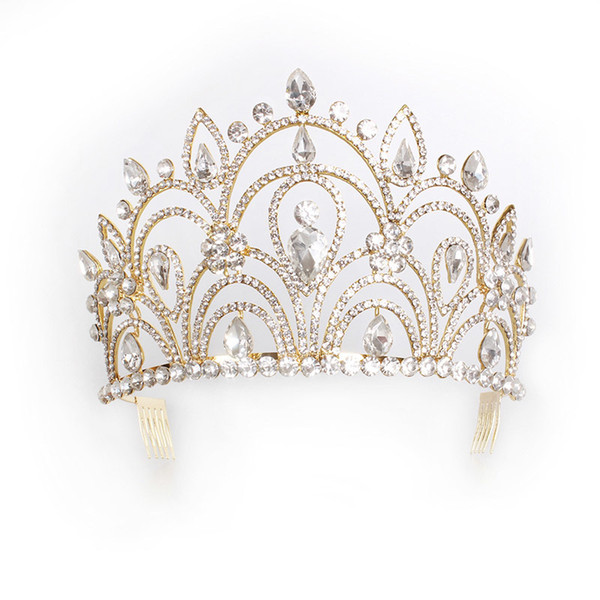 Trendy Silver Gold Color Wedding Tiara Luxury Rhinestone Crown For Bride Hair Accessories Queen Royal Crown Beauty Pageant Hair C19022201
