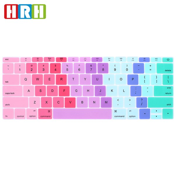 English Silicone Rainbow keyboard Cover Skin For Macbook New Pro 13 A1708 (2016 Version No Touch Bar) and for Mac 12 Inch A1534