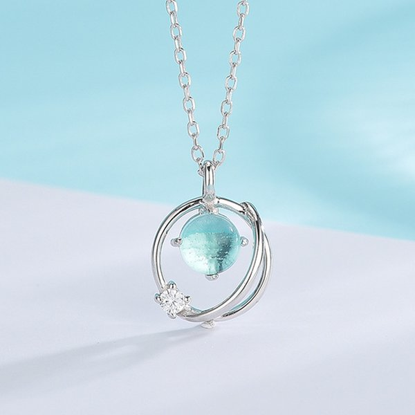 3 Styles 100% 925 Sterling Silver Charm Dream Planet Necklace Crystal Stars Ball Sapphire Pendant Necklace For Women