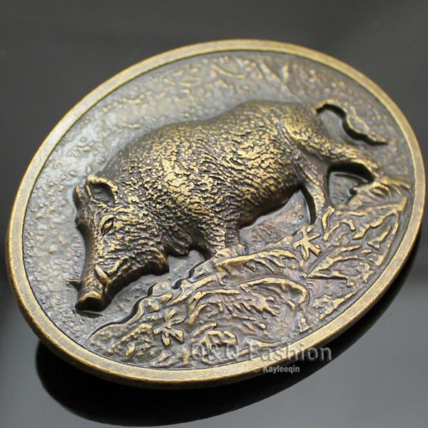 New Fashion Belt Buckle Western Antique Gold Wild Boar Pig Animal Hunt Tractor Farm Men Gift