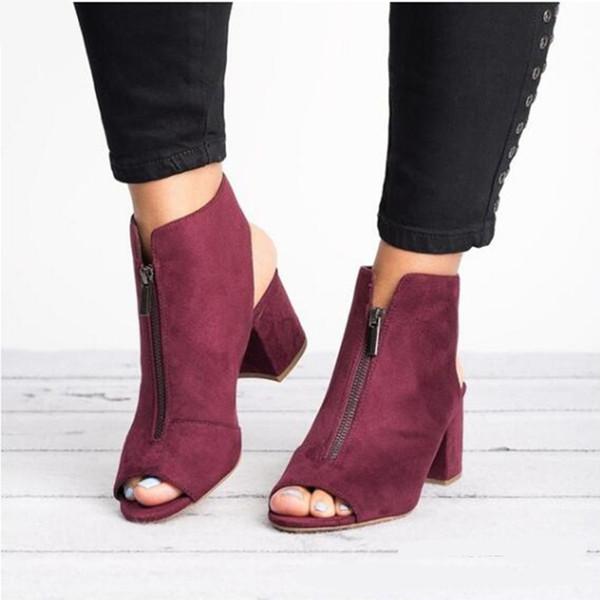 Stiefeletten Faux Wildleder Casual Open Peep Toe High Heels Reißverschluss Fashion Square Gummi Schwarz Schuhe für Frauen Größe 34-43