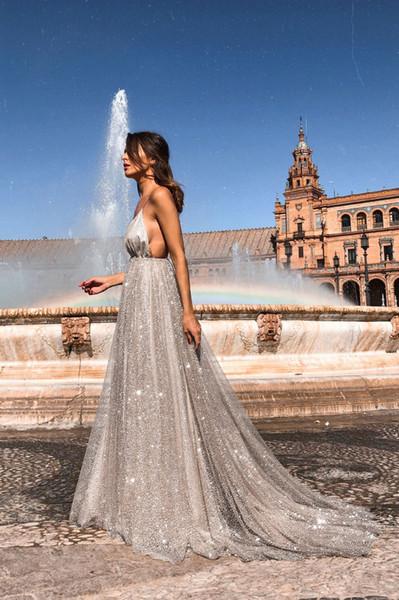 2019 Europe et les nouveaux modèles d'explosion robe de mode robe sexy fronde V-cou longue tache jupe