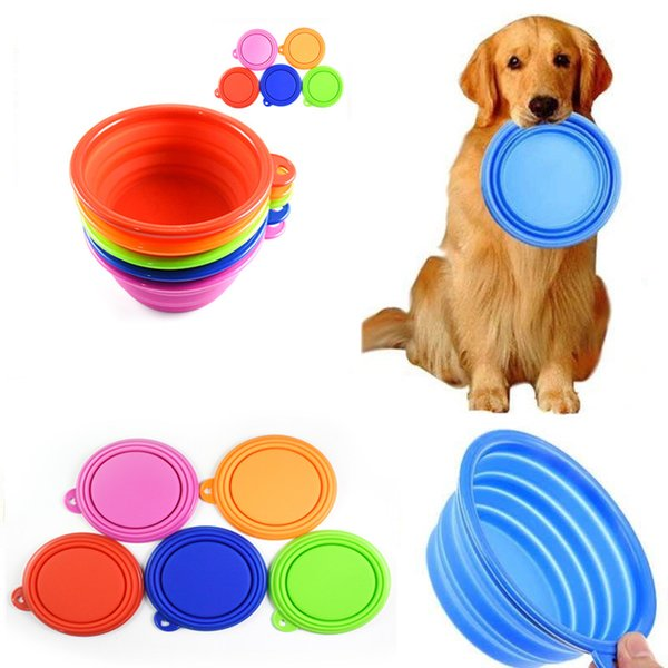 Haustier Hundefutter Dish Faltbare Silikon Futternapf Reise Faltbare Feeder Tragbare Hundefutter Wasser Futternapf CCA11838 100 stücke