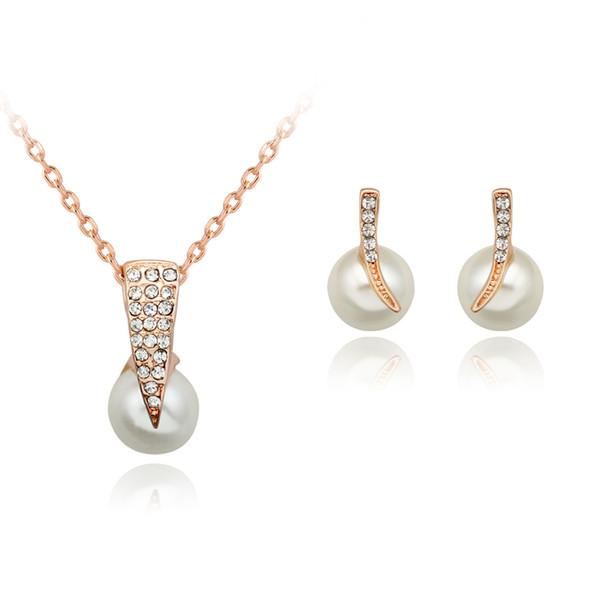 Conjunto de joyería nupcial Pendientes de collar de perlas de diamantes de imitación Set Vestido de fiesta Pendientes Joyería para mujer Joyería de boda