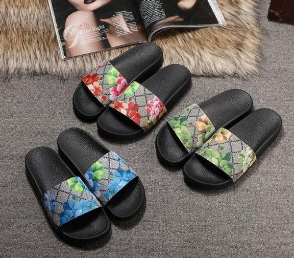 tao227105 / Moda masculina y femenina Sandalias casuales Verano al aire libre marca de la marca Flor impresa zapatos unisex Zapatillas talla 35-46