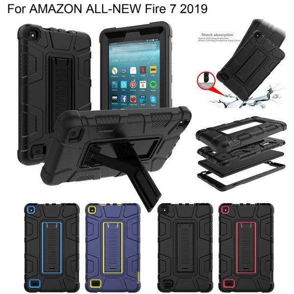 Custodia rigida ibrida 3 in 1 per robot resistente agli urti in silicone TPU Custodia rigida per Amazon Kindle Fire 7 2019 2017 Fire7 HD 8 HD8 2015 2016