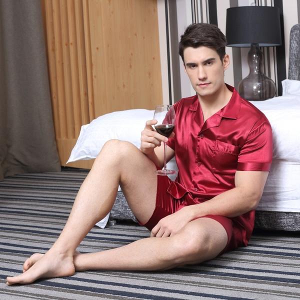 Tony&candice Satin Pajamas Shorts Rayon Silk Sleepwear Summer Male Pajama Set Soft Nightgown For Men Pyjamas J190521