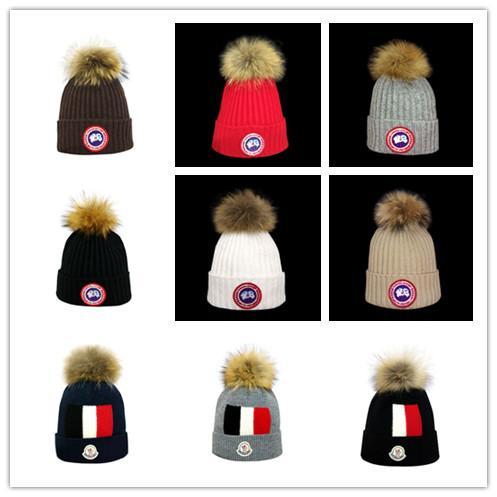 Winter brand goose CANADA men beanie Fashion Designer Bonnet women Valentine's day gift Casual knitting skull caps hair ball outdoor hats