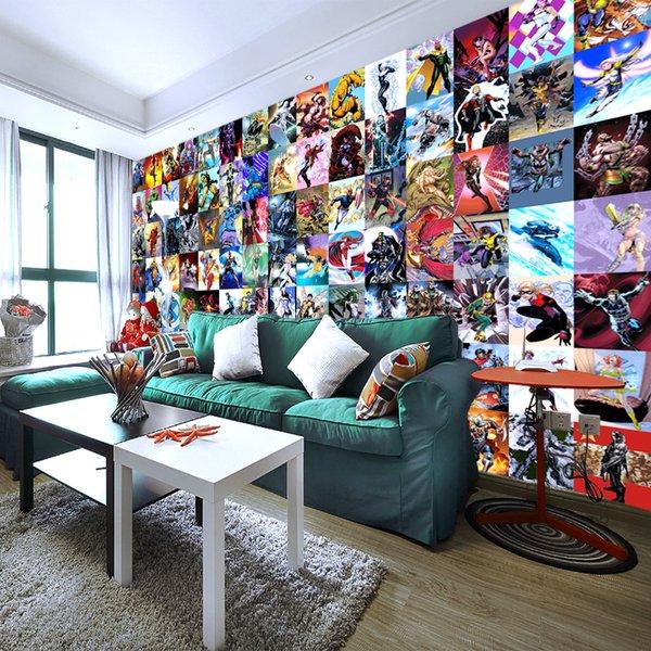Marvel Comics Wallpaper Benutzerdefinierte 3D Wandbild Super Hero Avengers Fototapete Kids Boy Schlafzimmer Wohnzimmer Sofa TV Hintergrund Rood Dekor