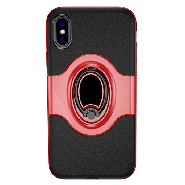 Магнитное кольцо Стенд Автомобильный держатель Задняя крышка ПК + ТПУ Металл Противоударный противоударный Чехол для Iphone X Xs Xr Samsung S10plus Huawei Mate20 P30 Pro