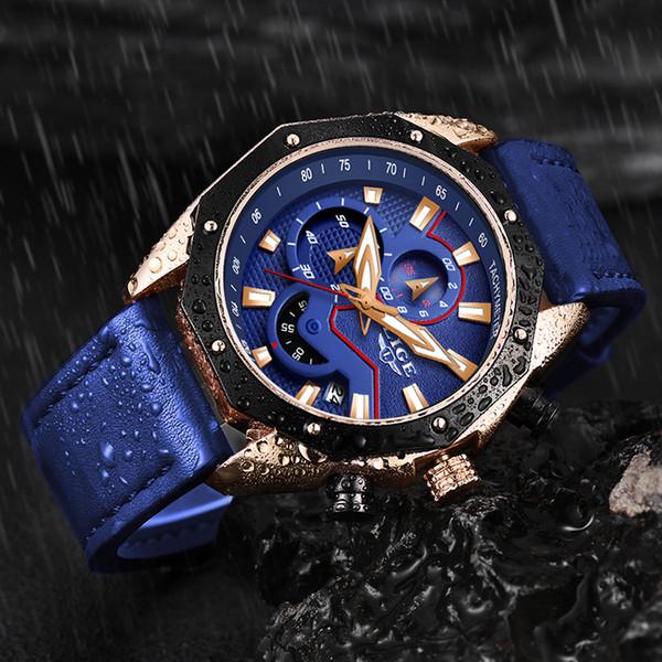 LIGE Часы мужские аналоговые кожаные спортивные часы мужские армейские часы мужской хронограф кварцевые часы Relogio Masculino