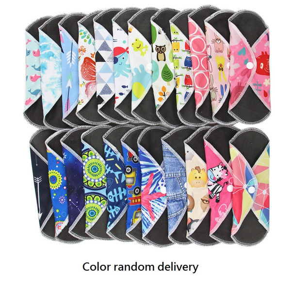 top popular 10 pcs Reusable Charcoal Bamboo Cloth Menstrual Pads Washable Sanitary Panty Pad 2020