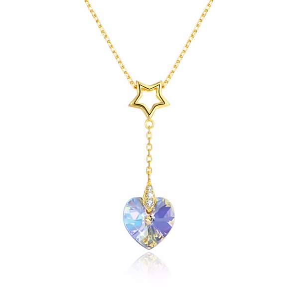2018 New Gold 925 Sterling Silver Chic Pendant Necklace Girl Women Lucky Star Shape Jewelry Heart Crystal Hanging Necklace gift