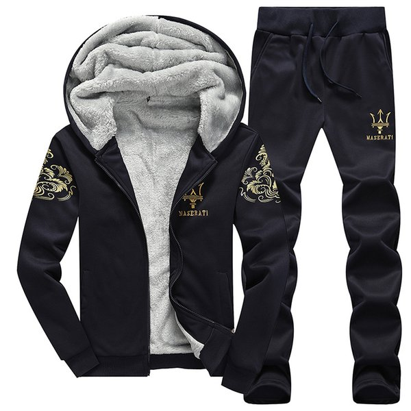 Autumn and Winter New Men's Sports Fleece Suit Casual Long Sleeve Baseball Jacket Men's Tracksuits