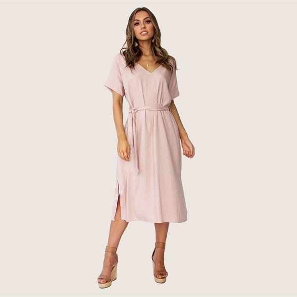 Vendaje casual Vestido de verano dividido para mujeres 2019 Sólido de algodón de época Vestidos de lino Con cuello en v Cintura alta Vestido atractivo Robe Femme