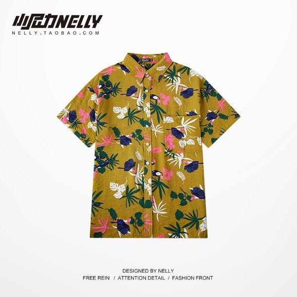 Network Red Machine Shirt Druck Design Männlich Hong Kong Style Fünf Ärmel Hübscher Sommer Hip Hop Kurzarm Flower Shirts