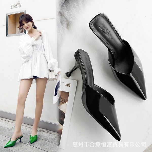 Factory Source Cold Slippers Summer 2019 New Foreign Trade European and American Highheeled Womens Shoes Fineheeled Painted Tip Sandals