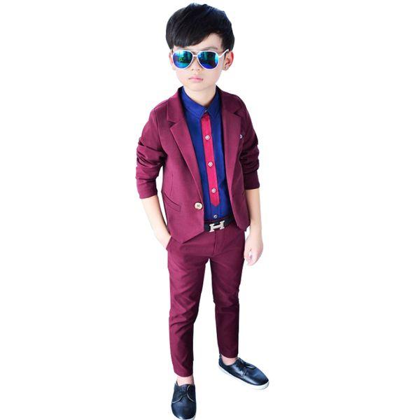 2019 Boys Suits for Weddings Blazer Pants 2PCS Baby Boy Formal Outfit Autumn Kids Dress Suits Costume Children Party Clothes