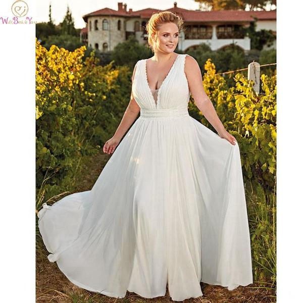 Simple Wedding Dress Plus Size White Custom Made Chiffon A Line V Neck  Sleeveless Floor Length Sweep Train Pleat Bridal Gown Wedding Dress Cheap  ...