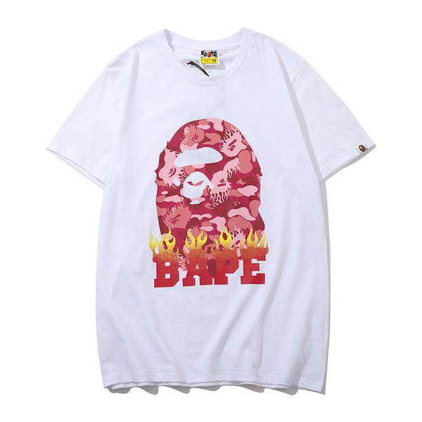 Newest Summer Lover Color Cartoon Camo Hip Hop T-shirts Men Women Casual Round Neck Loose Black White T-shirts Sizes M-2XL