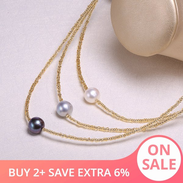 DAIMI Natural Threaded Pearl Necklace Pearl Necklace 11-12mm Perforated Pendant Jewelry Gift For Women
