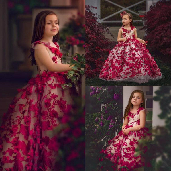 Abito 2020 di sfera bella rossa ragazza abiti fiore con 3D Appliques floreali Tulle todder ragazze vestito da spettacolo su ordine Bambini Abiti formali