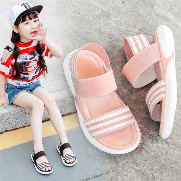 Enfants Chaussures 2019 Mode Été Sandales Bébés Filles Élastique Antidérapant Résistant À L'usure Résistant À La Plage Chaussures Enfant En Bas Âge Sandales Loisir