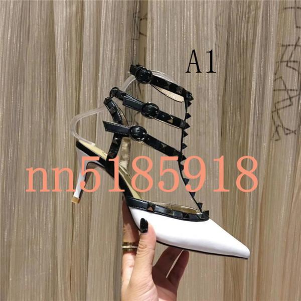 2019 zapatos de vestir de tacón alto para mujer fiesta de moda remaches niñas sexy zapatos puntiagudos hebilla fábrica precio más bajo tamaño 34 a 42 yardas