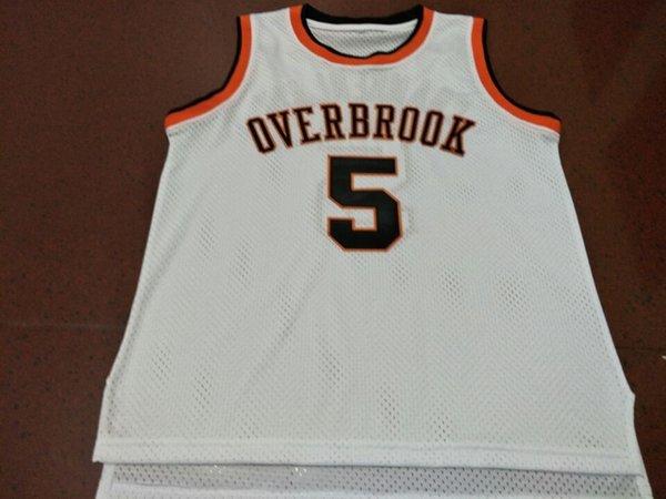 WILT CHAMBERLAIN #5 OVERBROOK HIGH SCHOOL BASKETBALL JERSEY NEW WHITE ANY SIZE