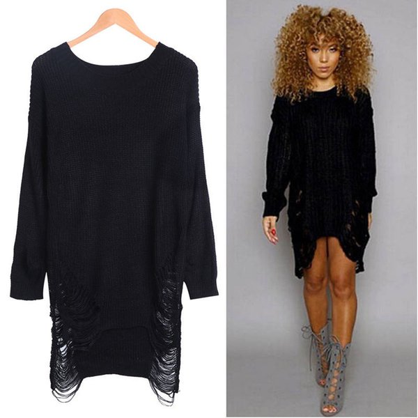 Casual Women Long Sleeve Oversized Sweaters Ladies Cotton Knitted Tassel Loose Sweater Jumper Winter Party Knitwear Vestidos Top