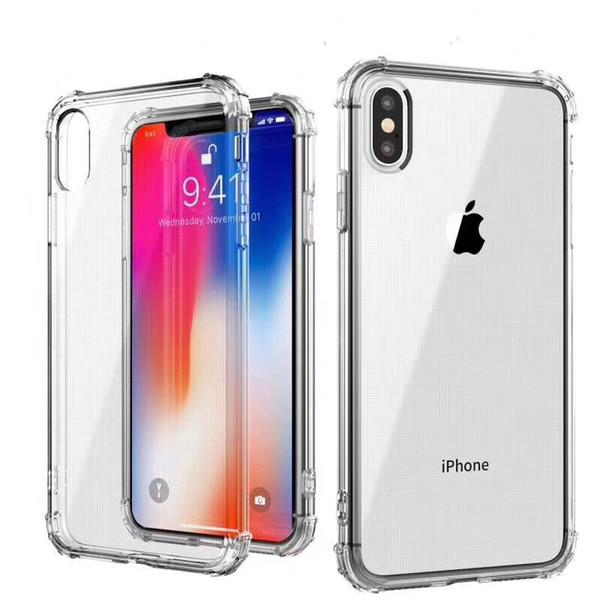 For iPhone 6/7/8plus X XS Max XR transparent dustproof shockproof tpu case cheap slim bumper raised corner back case phone cover
