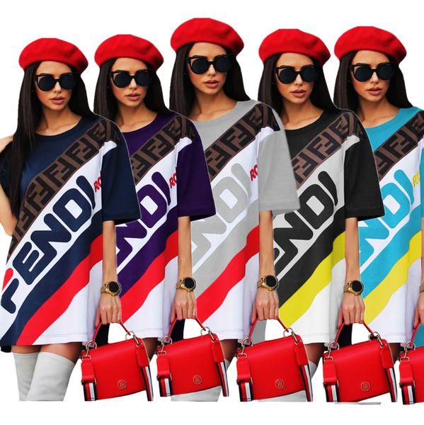 best selling Women T-Shirt Dress FF Letter Printed Sports Skirt Summer Loose Short Sleeve T shirts Long Tee Fashion Striped Short Skirt Boutique DHL C436