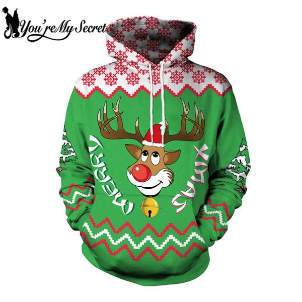[Du bist mein Geheimnis] 2018 New Fashion Cute Deer Cartoon Weihnachten Festival Langarm Sweatshirt Wih Hood Frauen Männer Hoodie