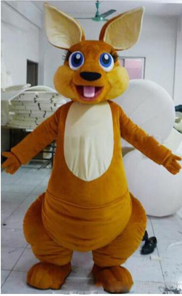 Profesyonel özel güzel kanguru Maskot Kostüm Karikatür kahverengi kanguru Karakter Maskot Elbise Noel Cadılar Bayramı Partisi Fantezi Elbise