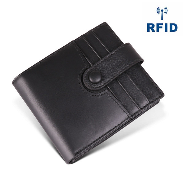 RFID Genuine Leather Trifold Horizontal Men Wallets Cow Leather Multifunctional Short Wallet Card Holder Coin Bag X423