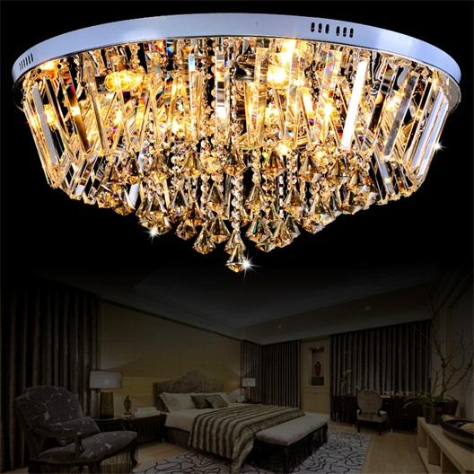 Round Golden Teak&Clear Crystal Flushmount Ceiling Light 14-Light Chandelier E12 Living Room US