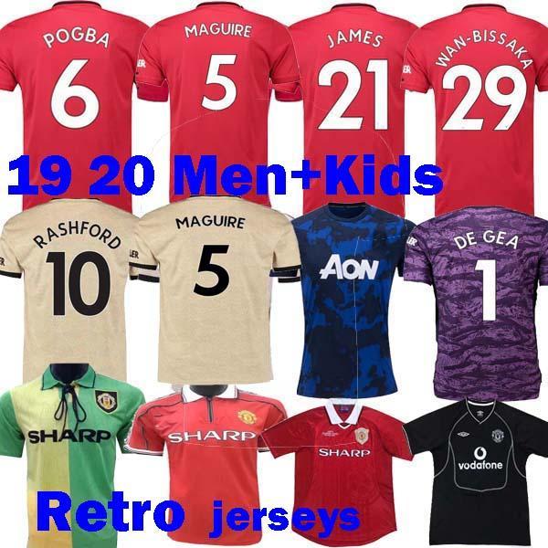 2020 JAMES Maguire Spieler Vertion Mann POGBA United Fußball Trikots 19 20 Manchester utd Maillots 2019 Retro 98 98 00 02 Kinder Fußball Trikots