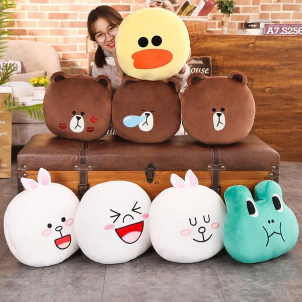 40x40Cm 40cm Kawaii line town Cony Rabbit Brown Bear Duck 7 Styles Soft Pillow Cushion Plush Toy Children Lover Birthday Gift
