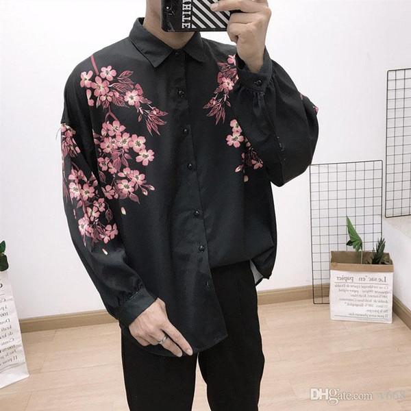 2019 Fashion Designer Тонкий Fit Рубашки Мужчины 5D Medusa Черное золото Цветочные печати Мужские рубашки платья с длинными рукавами Бизнес Повседневный Мужчины Сгусток